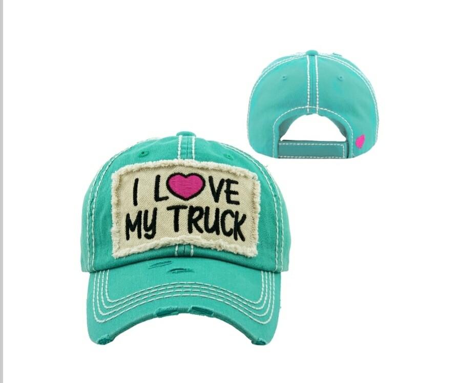 Teal I Love My Truck Cap
