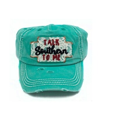 Teal Talk Southern To Me Cap