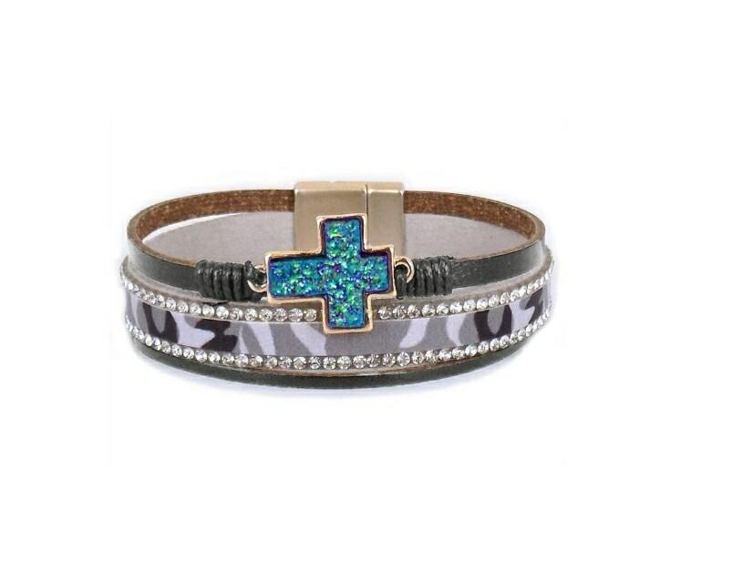 Gray Bracelet With Blue Cross