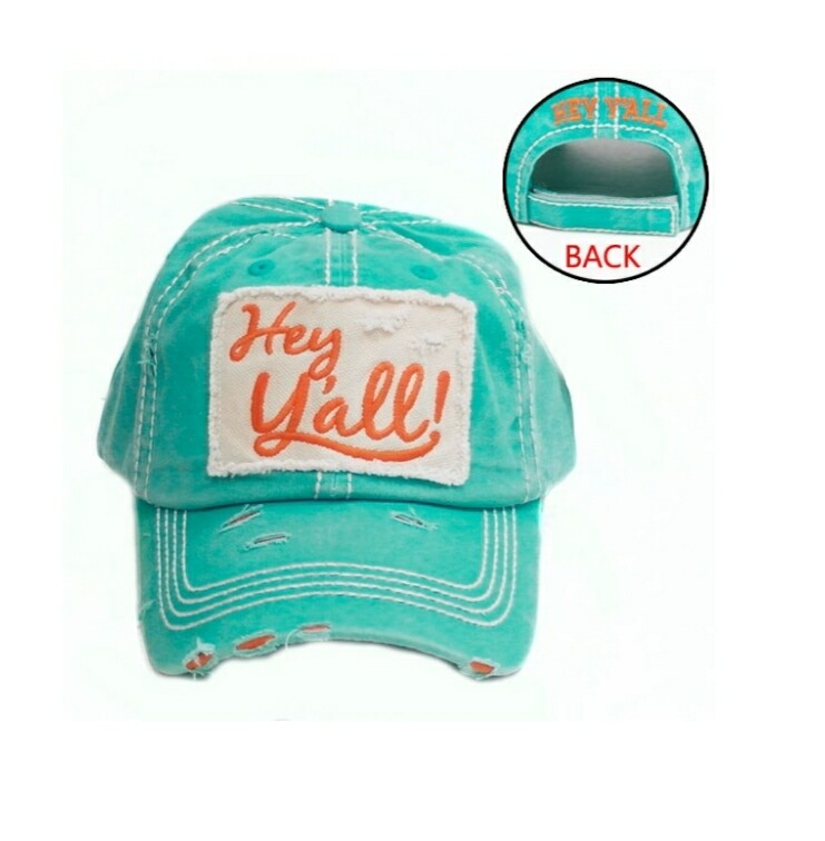 Turquoise Hey Yall Cap