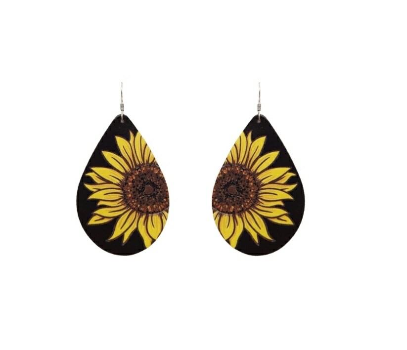 Black Leather Sunflower Earrings