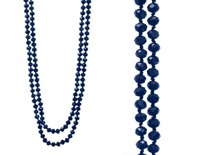 Navy Blue Long Bead Necklace