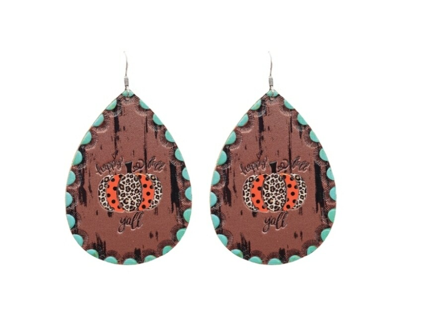 Brown & Turquoise Earrings With Pumkin Pendant