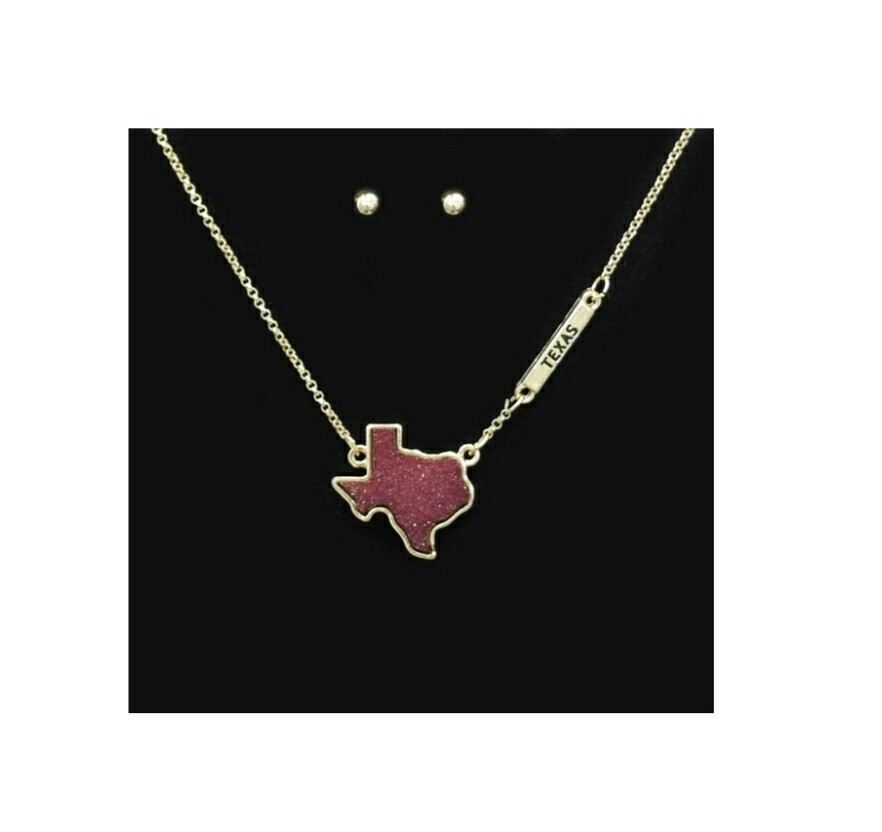 Maroon Texas Necklace With Studs