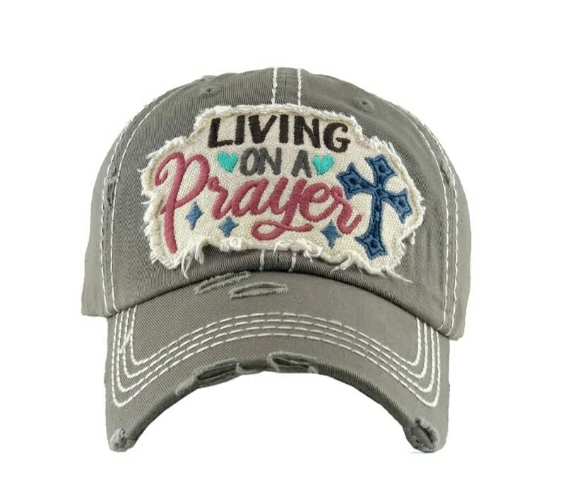 Gray Living On A Prayer Cap