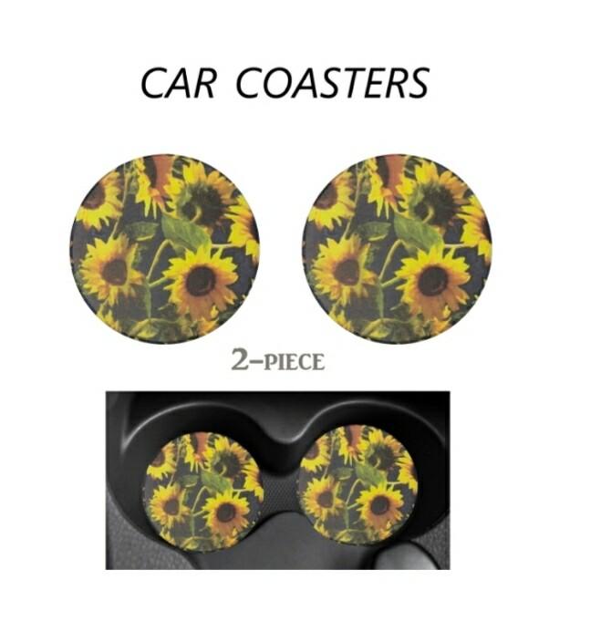 Dark Sunflower Car Coasters