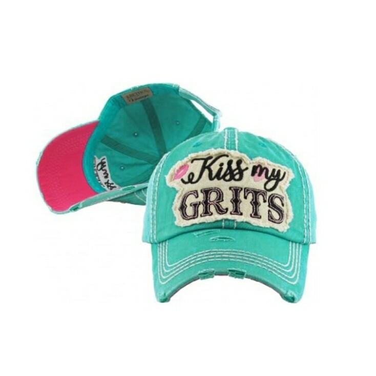 Teal Kiss My Grits Cap