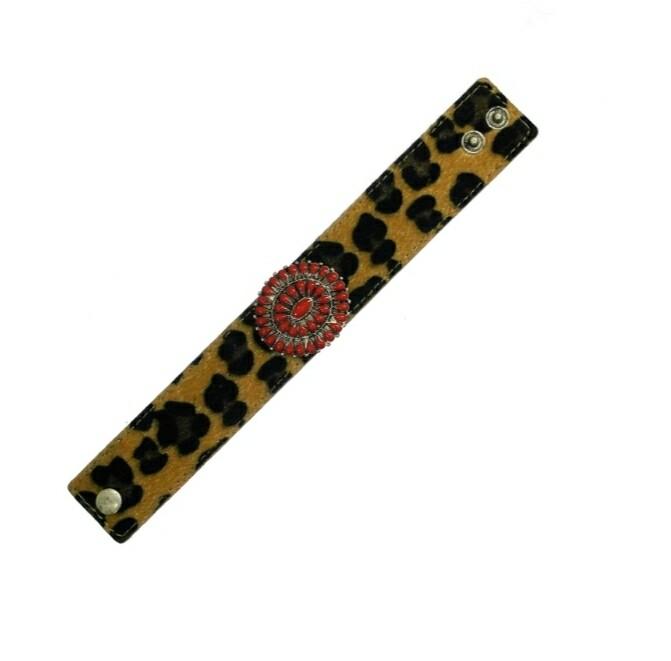 Leopard Bracelet With Red Pendant