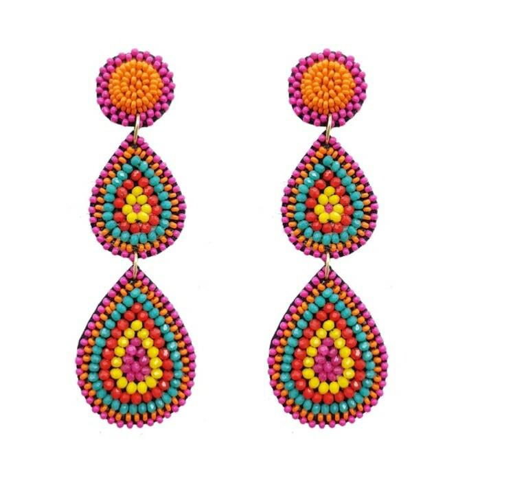 Native Beaded 3 Tier Earrings
