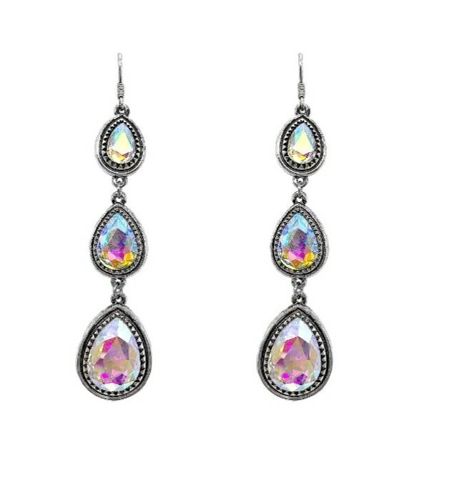 Silver & Rainbow 3 Tier Earrings