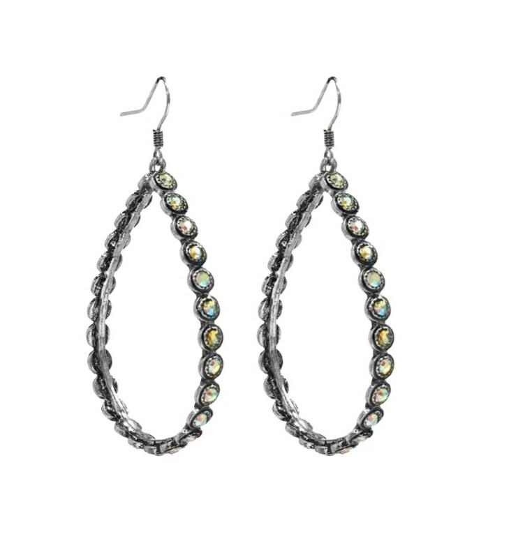 Silver Studded Hoop Earrings