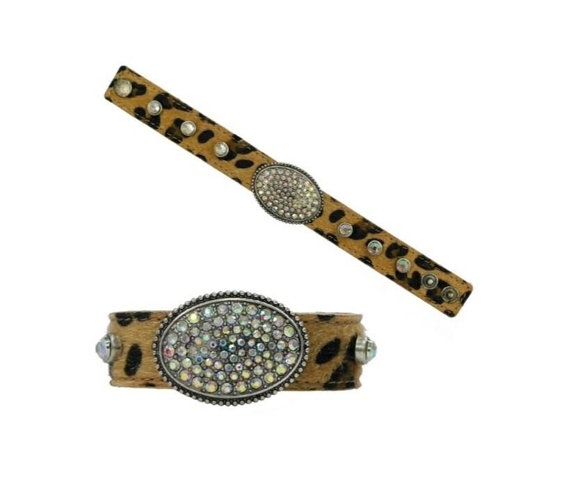 Leopard & Silver Studded Bracelet