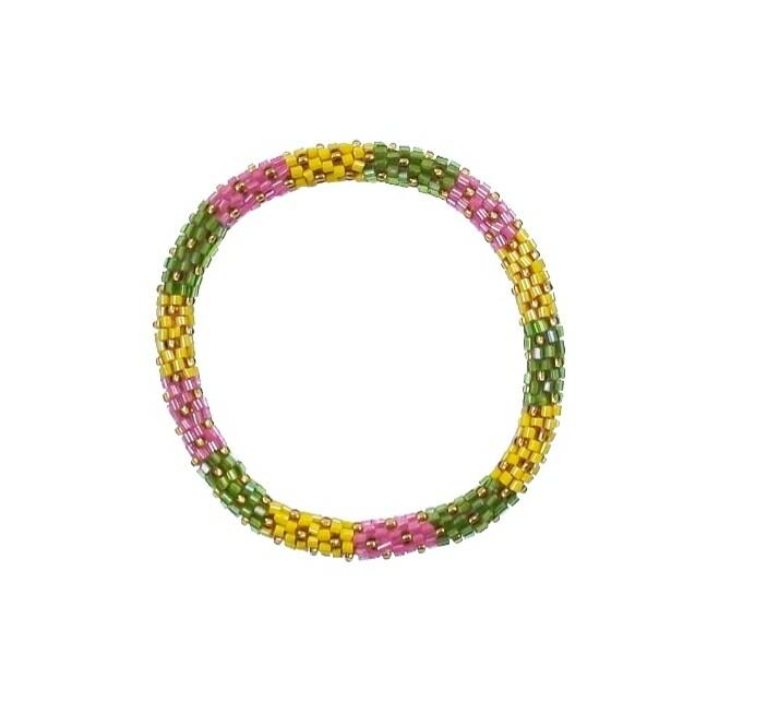 Yellow,pink & Green Nepal Bracelet