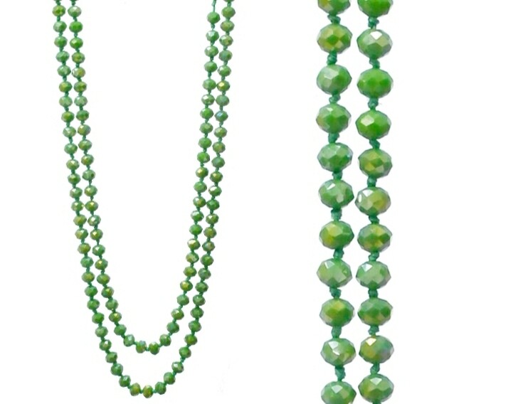 Lime Green Long Bead Necklace