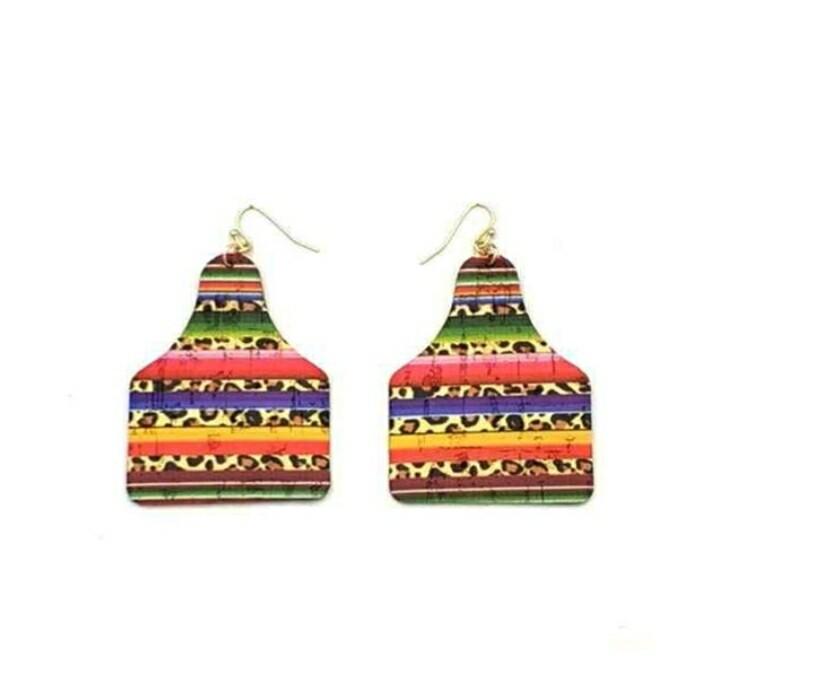Serape Cow Tag Earrings