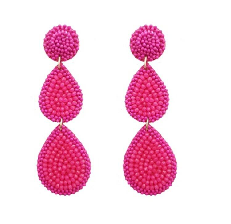 Hot Pink Beaded 3 Tier Earrings