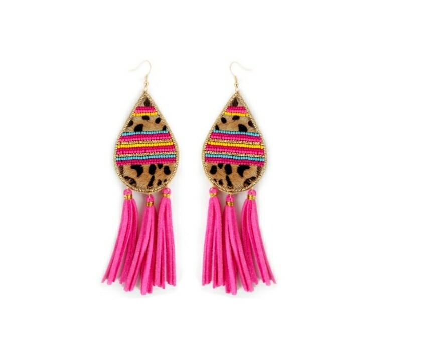 Leopard & Pink Tassel Earrings