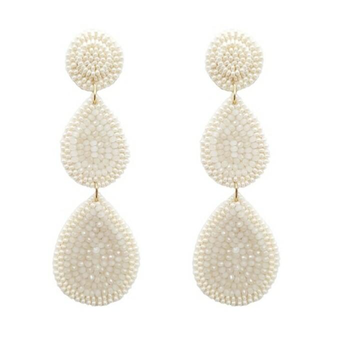 White Beaded 3 Tier Earrings