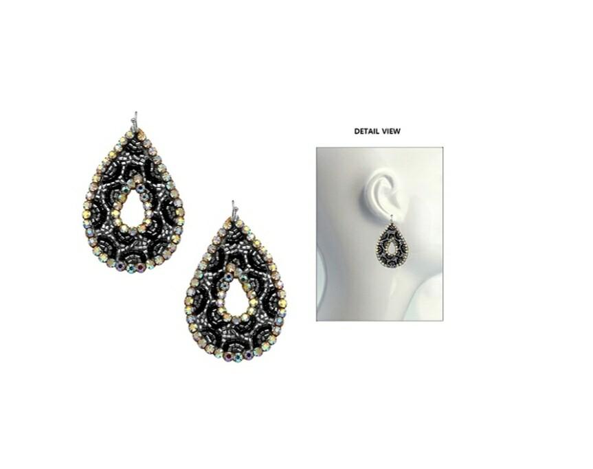 Black & Silver Beaded Earrings