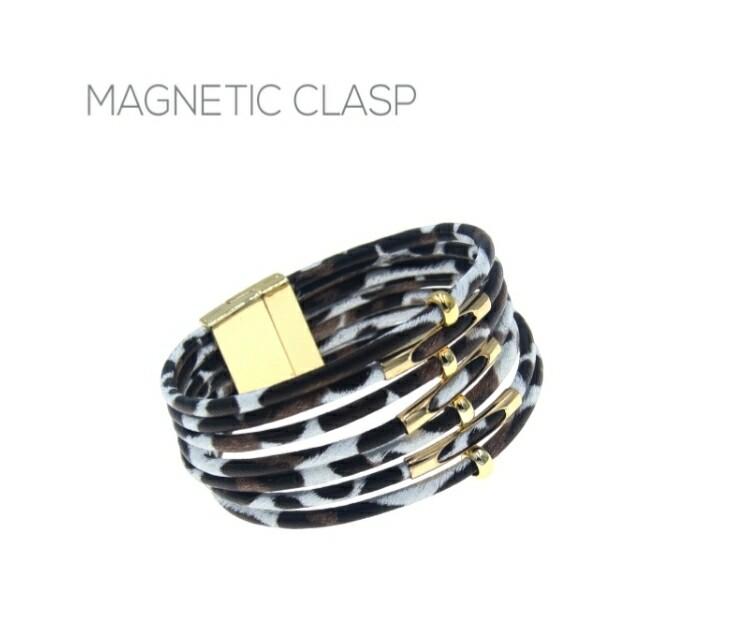 Blue Leopard Magnetic Clasp Bracelet