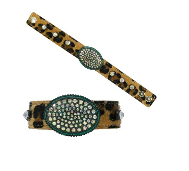 Leopard & Turquoise Studded Bracelet