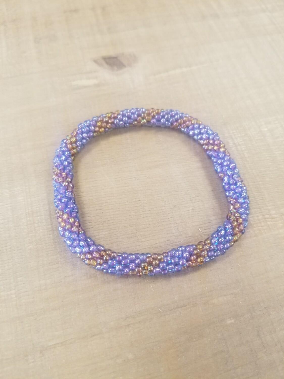 Purple, Metallic & Gold Nepal Bracelet