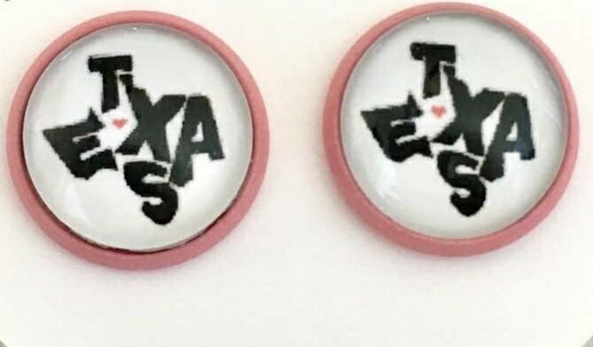 Pink Texas Font Earrings