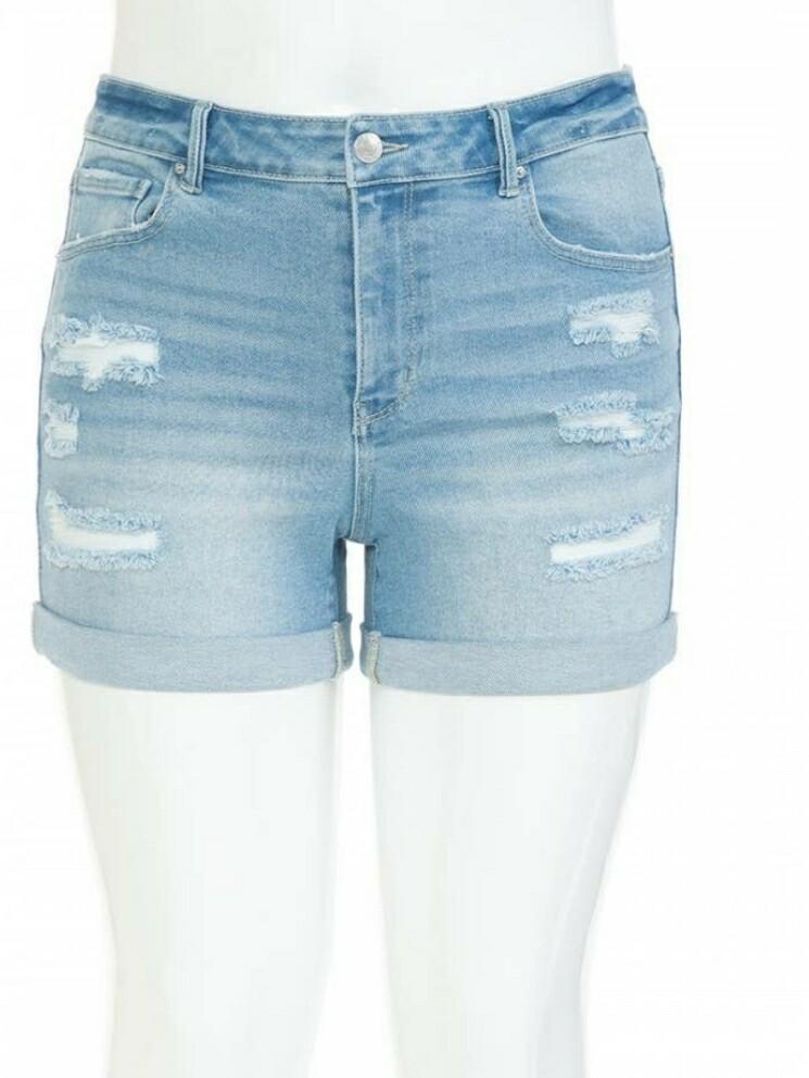 Plus Size Light Blue Vintage Ripped Shorts