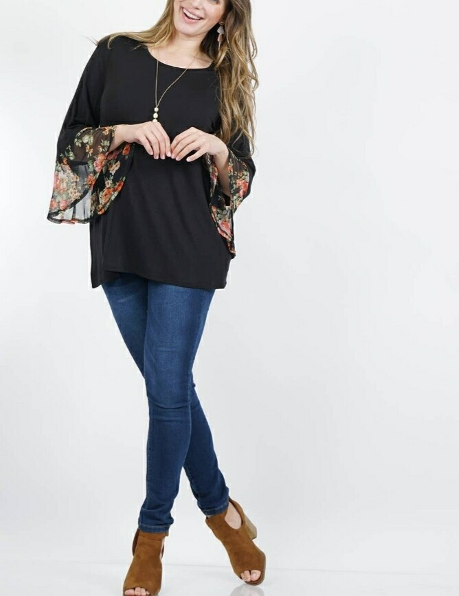 Black Floral Print Tunic Top