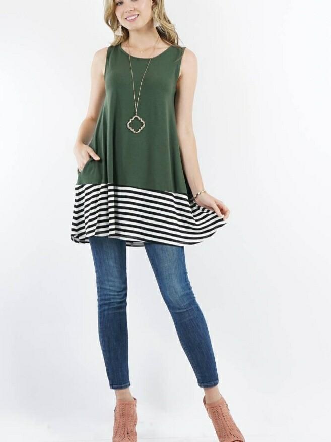 Green & Stripped Tunic Top