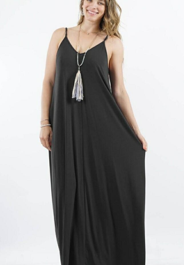 Black V Neck Cami Dress Size XL