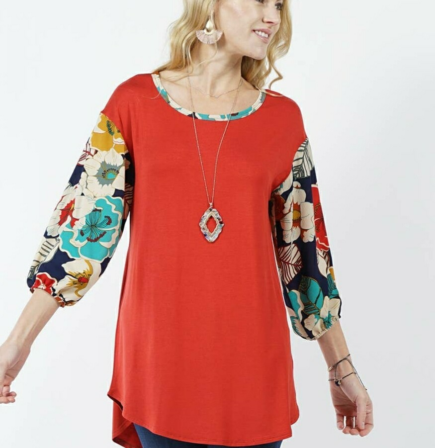 Red Floral Sleeve Tunic Top