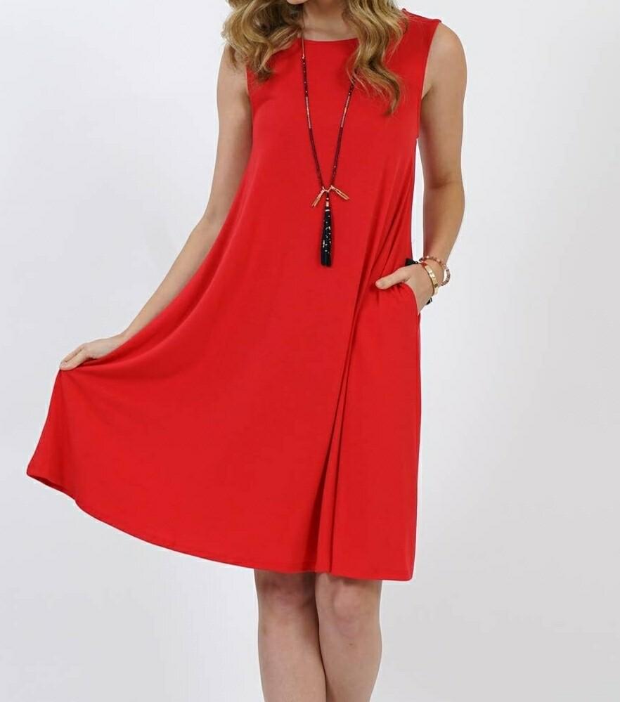 Red Flared Pocket Dress