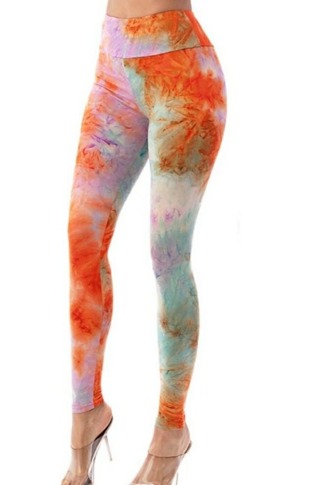 Orange Tie Dye Leggings