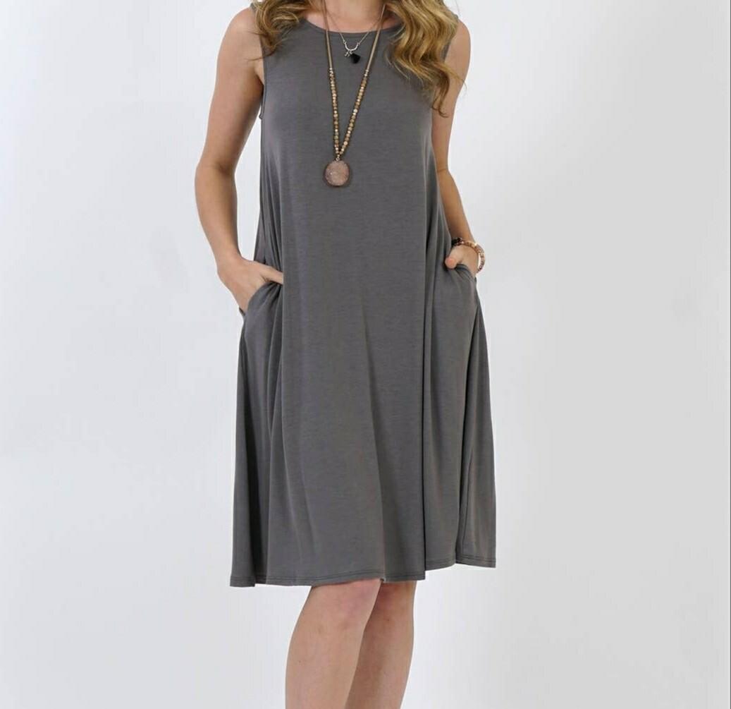 Gray Flared Pocket Dress