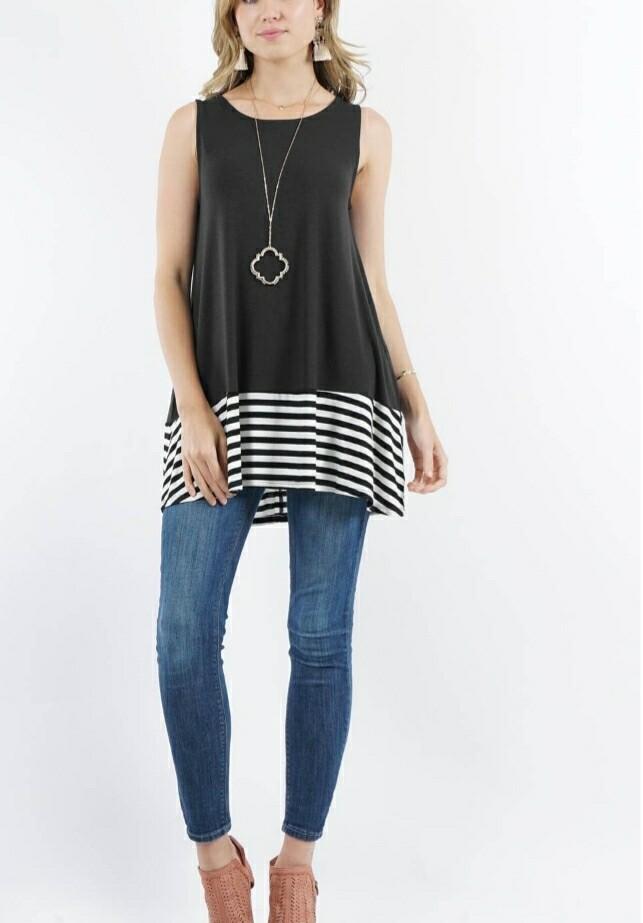 Black & Stripped Tunic Top