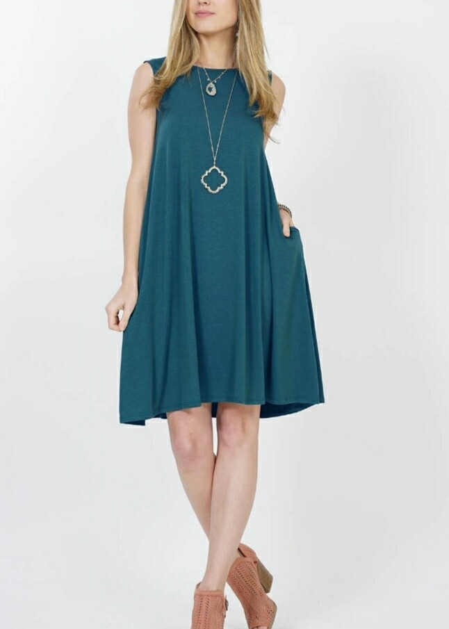 Teal Dress With Side Pockets