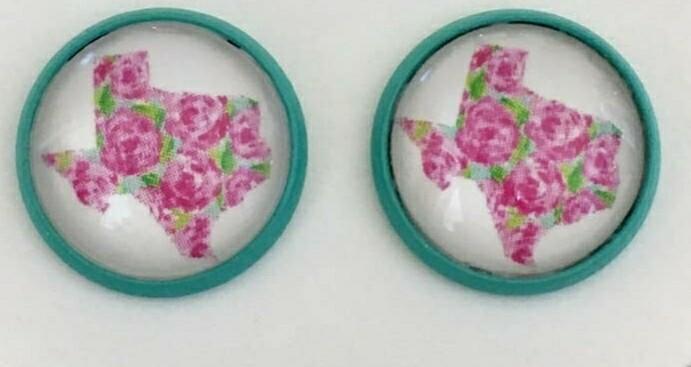 Turquoise & Pink Texas Earrings
