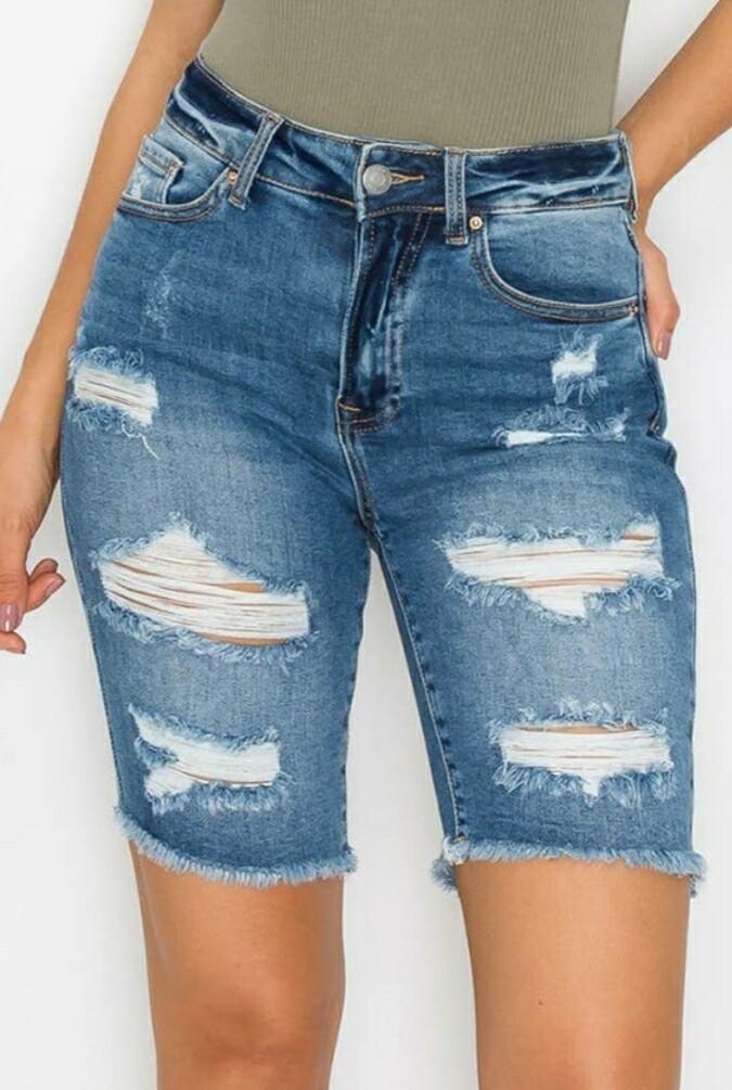 Destroyed Frayed Hem Bermuda Shorts