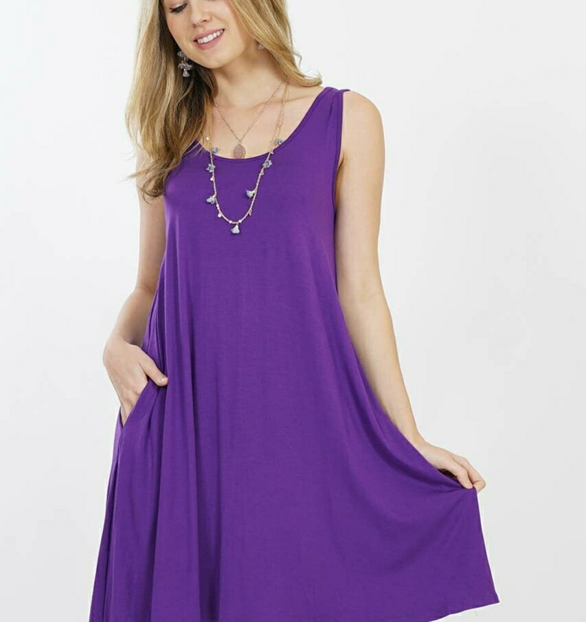 Purple Crew Neck Side Pocket Dress