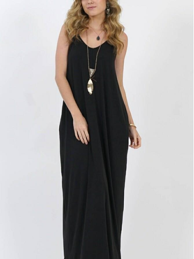 Black V Neck Cami Maxi Dress