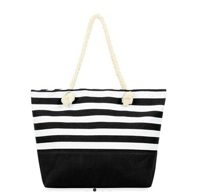 Black Stripped Tote Bag