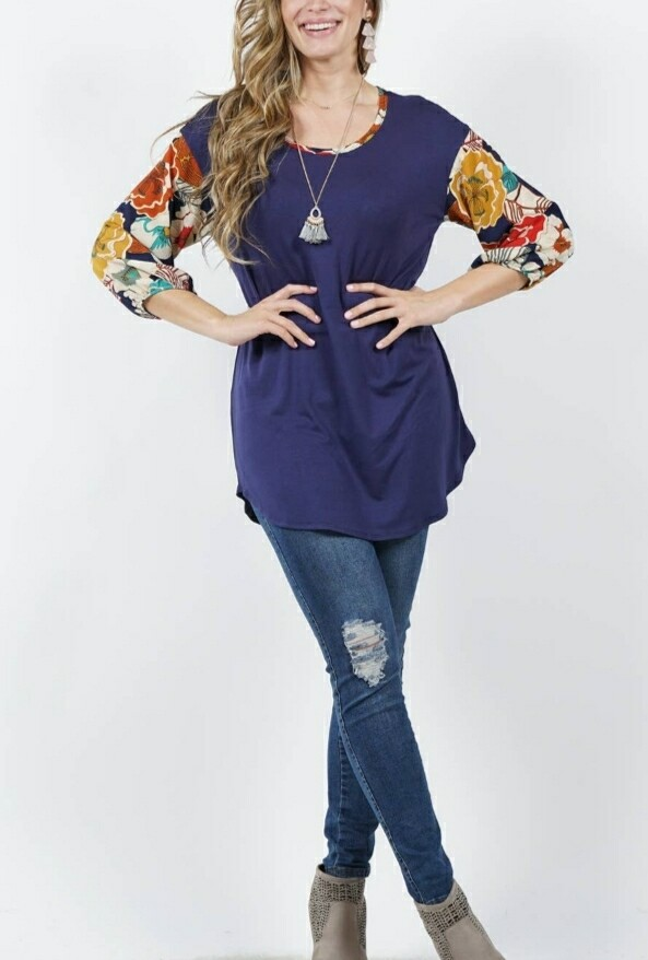 Purple Floral Sleeve Tunic Top