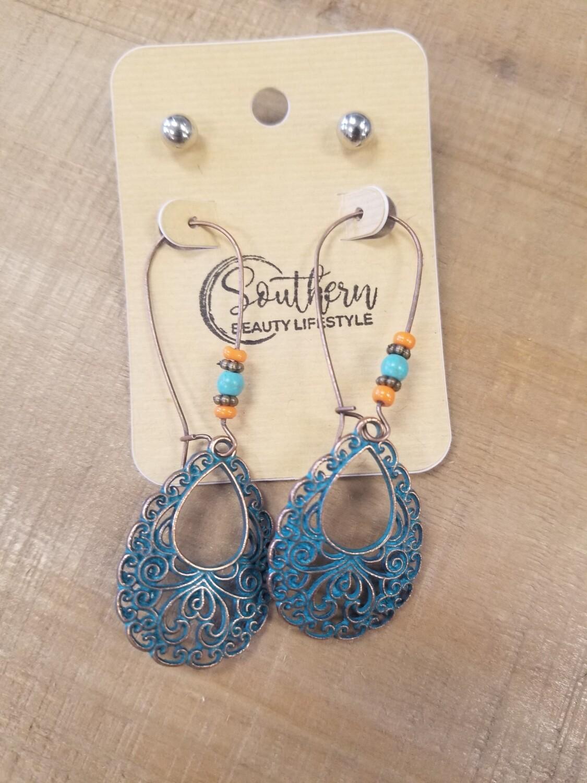 Rustic Teal & Orange Beads Earrings With Studs