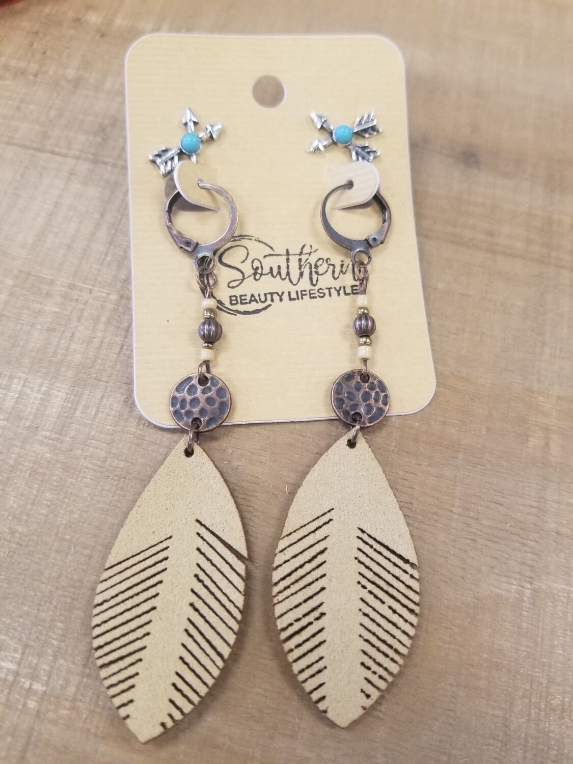Beige Feather Earrings With Studs