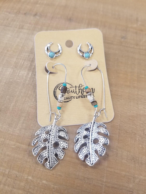 Silver Leaf Hoop Earrings With Studs