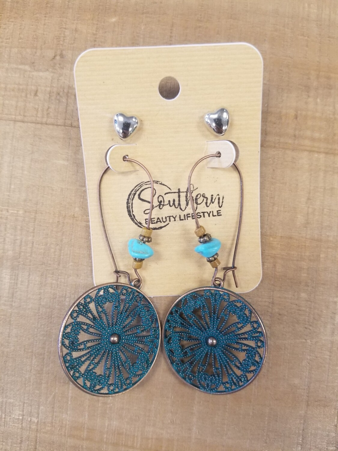 Rustic Teal Circle Earrings With Studs