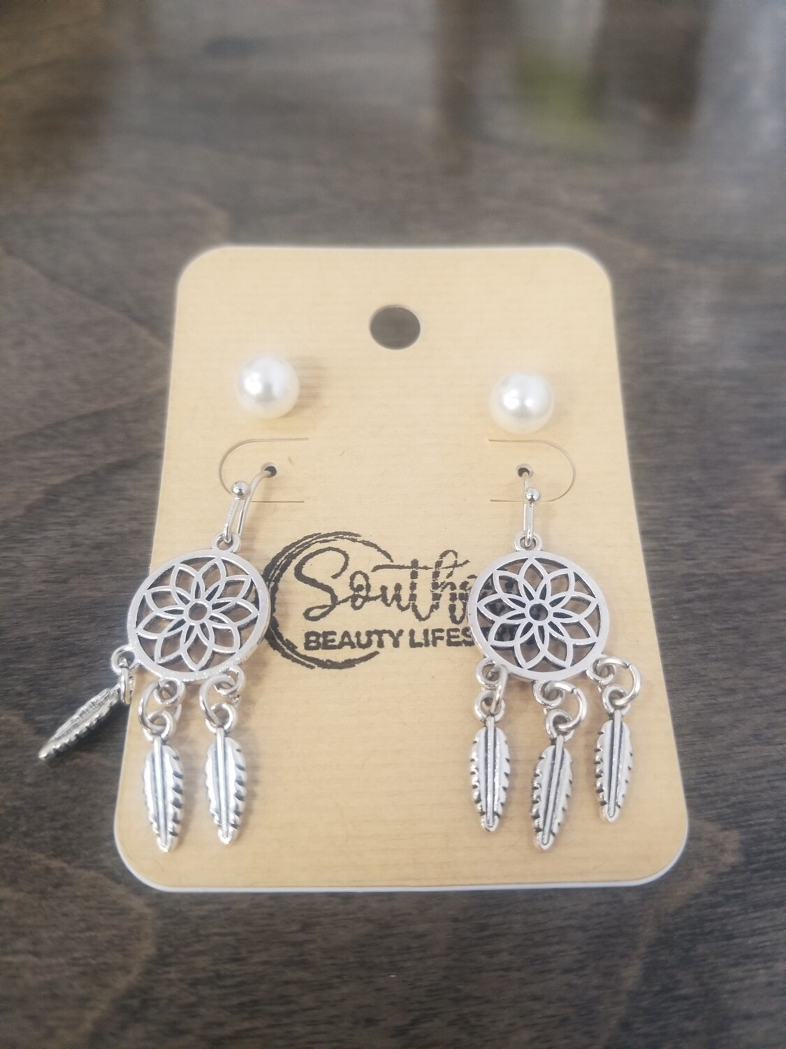Silver Dreamcatcher Earrings With Studs