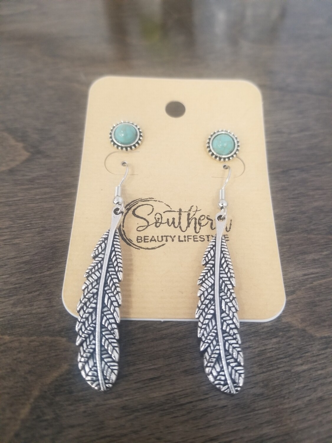 Silver Leaf Earrings With Turquoise Studs