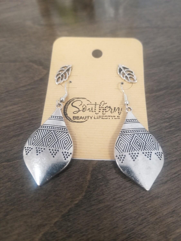 Silver Teardrop Earrings With Leaf Studs
